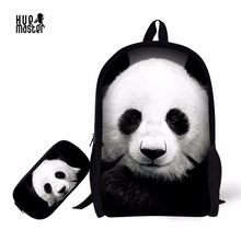 Panda School Bag Pencil Case Combination Cartoon Cat Dog Printing School Supplies Children Backpack +Pencil Box for Boys Girls