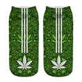 3D Green Leaf Stripes Printed Socks Girls New Unisex Cute Low Cut Ankle Socks Women's Casual Funny Socks