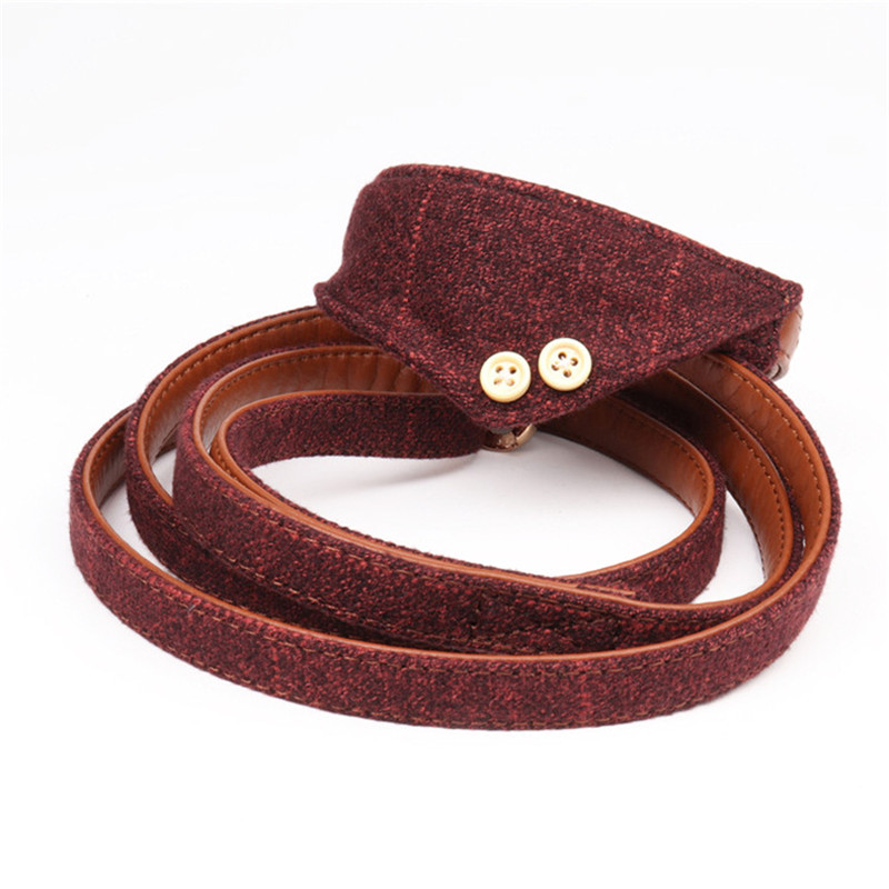 New Simple Pu Leather Dog Sets Thickened Comfort Scarf Collar with Traction Rope for Dogs and Cats Pet Supplies Accessories