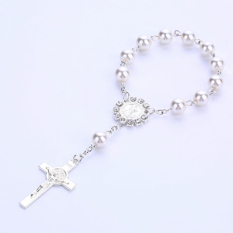 Крестик крещение сувениры розовые хрустальные жемчужины для