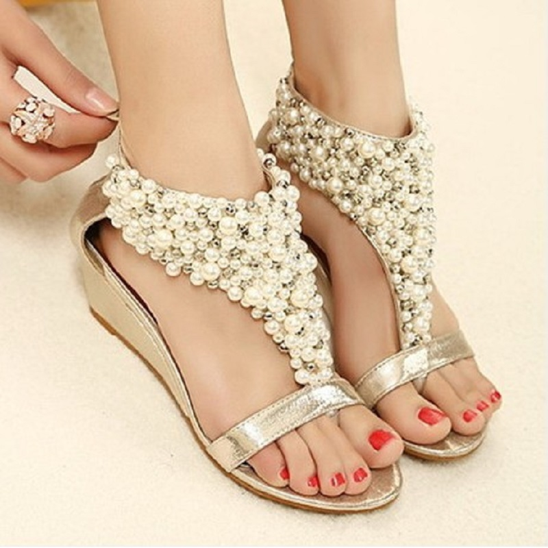 7454ebc8344 US $51.98 |Rhinestone zipper pearl beaded high heels gold black wedges  sandals women luxury shoes summer 2016-in Women's Sandals from Shoes on ...