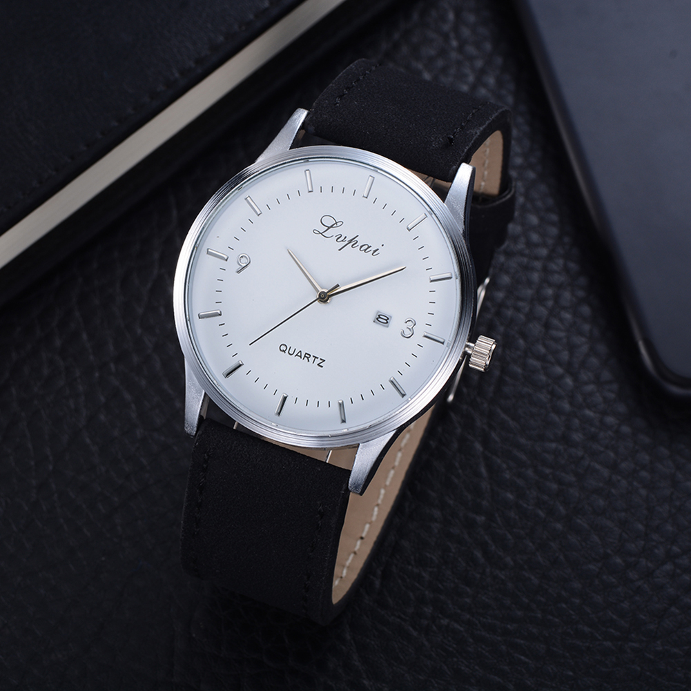Lvpai Brand Business Watches Men Wriswatch Black White Dial Leather Band Male Dress Watch Bracelet Horloges Vrouwen Saat In Quartz Watches From
