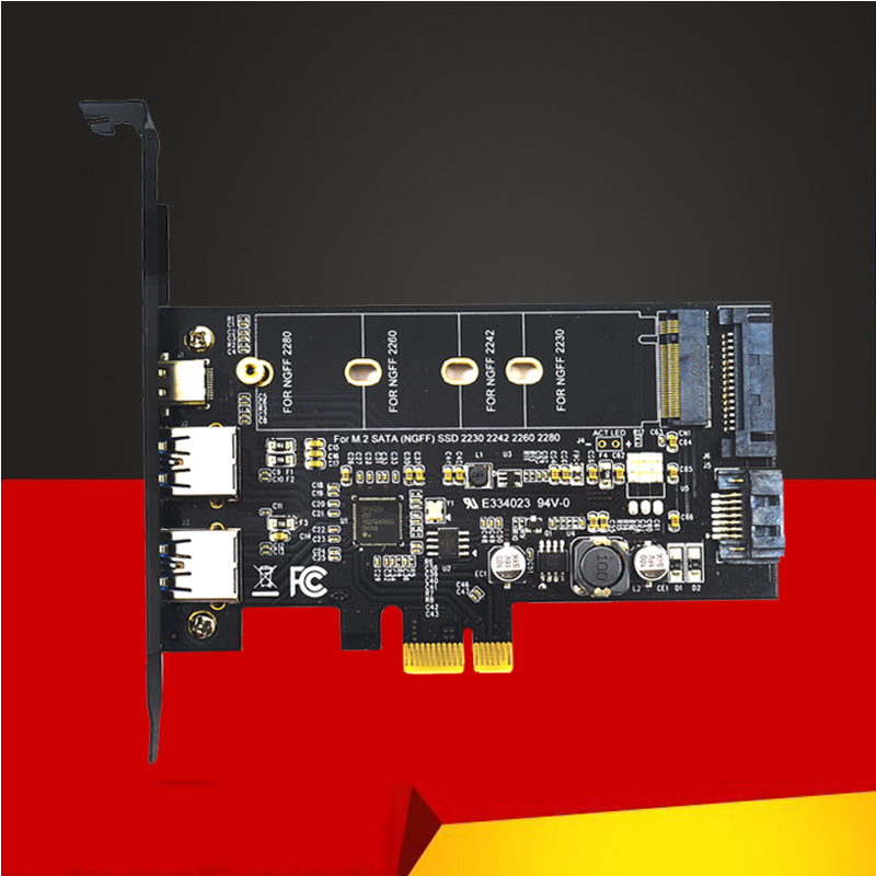 853.44руб. 20% СКИДКА|Двойной USB3.0 1 порт Type c M.2 PCIe адаптер M2 SSD SATA B Ключ к PCI e 3,0 Контроллер конвертер карта для 2280 2260 2242 NGFF|Платы расширения| |  - AliExpress
