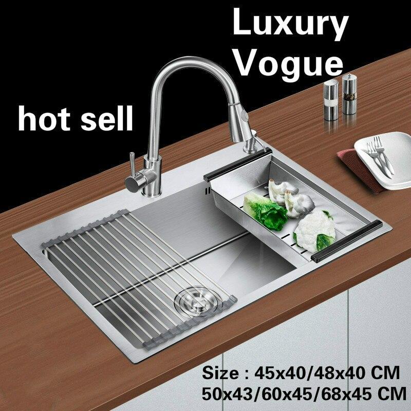 Livraison gratuite Standard mode évier de cuisine de qualité alimentaire acier inoxydable unique slot vente chaude 45x40/48x40/ 50x43/60x45/68x45 CM