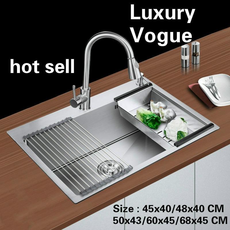 Standard di trasporto libero di modo lavello della cucina food grade in acciaio inox singolo slot vendita calda 45x40/48x40/50x43/60x45/68x45 CENTIMETRI