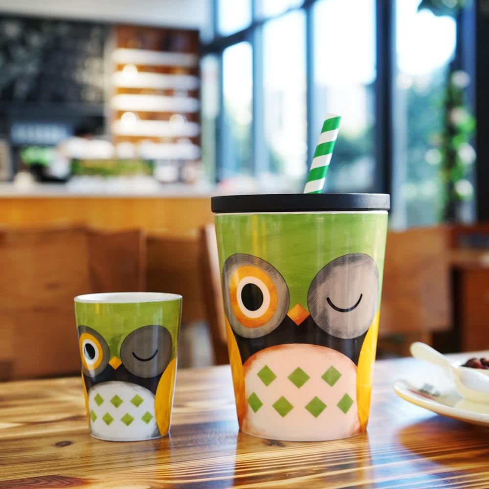 Adorable Lid Straw Lid Straw Portable Cupscartoon Ceramic Office Tea Cup Porcelain Animal Mugs From Home Big Capacity Travel Coffee Mugs Big Capacity Travel Coffee Mugs furniture Owl Shaped Coffee Mug