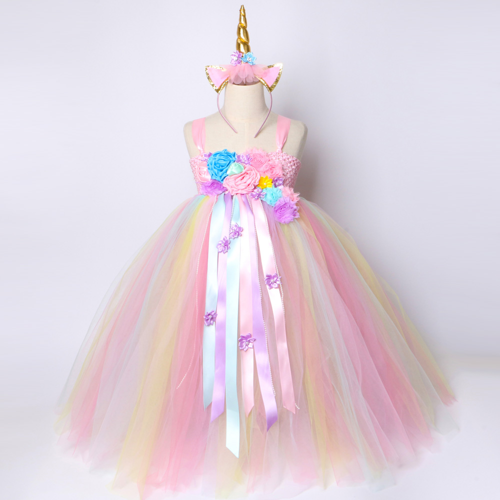 Girls Princess Unicorn Tutu Dress Rainbow Flower Birthday Party Dresses for Kids