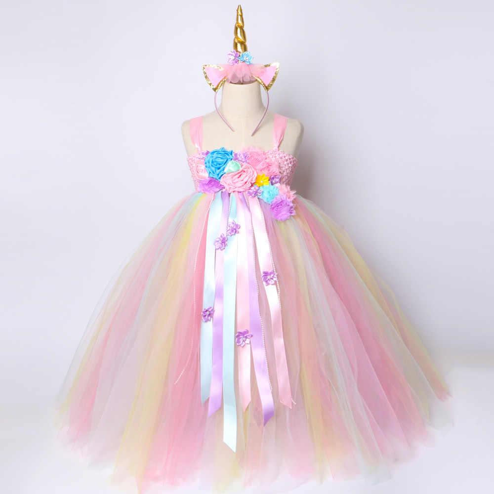 6f9c69acb8e2 ... Girls Unicorn Tutu Dress Pastel Rainbow Princess Flower Girl Party Dresses  Children Kids Birthday Halloween Unicorn ...