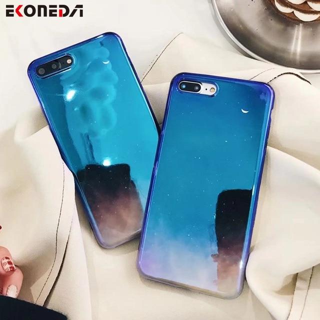 brand new e556e 07e95 US $4.23  EKONEDA Soft Silicone Case For iPhone 7 Plus Case Blue Ray Sky  Moon Light TPU Cover For iPhone 6 6S Plus 8 Plus X Case-in Fitted Cases  from ...