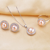 Natural Pearl Set Jewelry Set Pearl Pendant Ring Earrings For Women White Pink Purple 3 Color