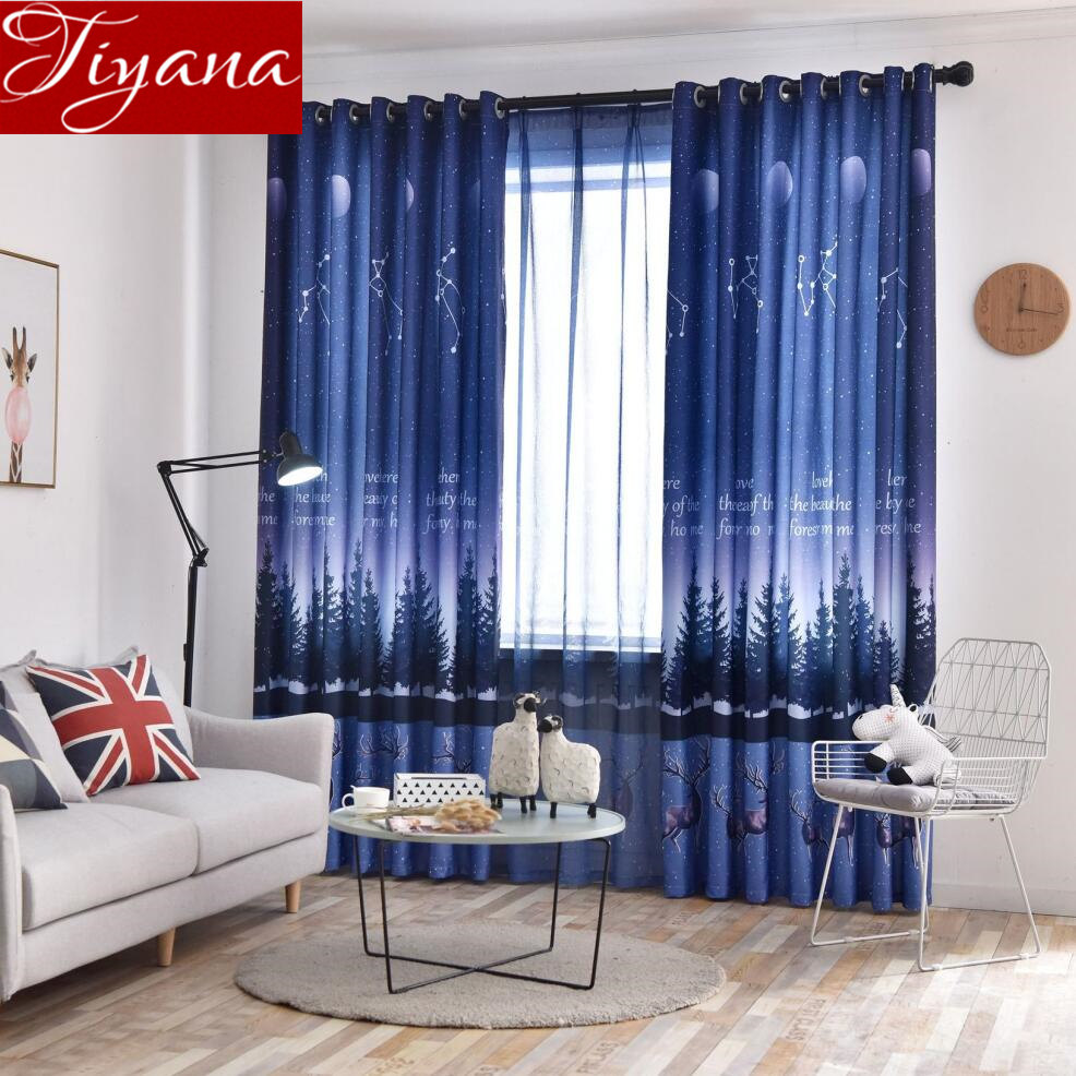 Cartoon Trees Curtains For Kids Boys Bedroom Blinds Linen: Nordic Style Night Sky Curtain For Boys Kids Room Cartoon