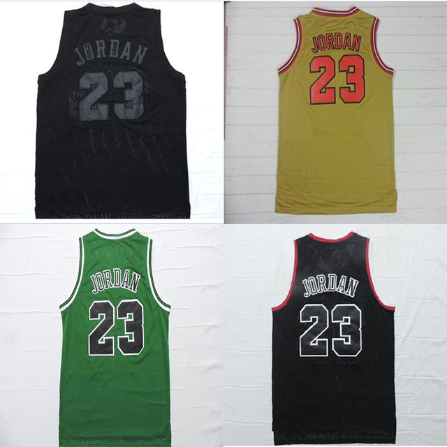 high quality Chicago Michael Jordan jerseys sports men 97 gold  Commemorative retro black green bullets Mesh Basketball jersey 2908a2362
