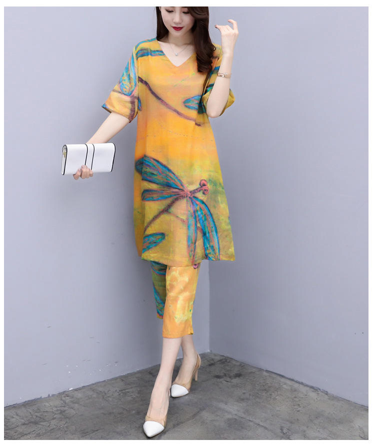 2019 Summer Chiffon Printed Two Piece Sets Outfits Women Plus Size Short Sleeve Long Tops And Cropped Pants Vintage Elgant Suits 26