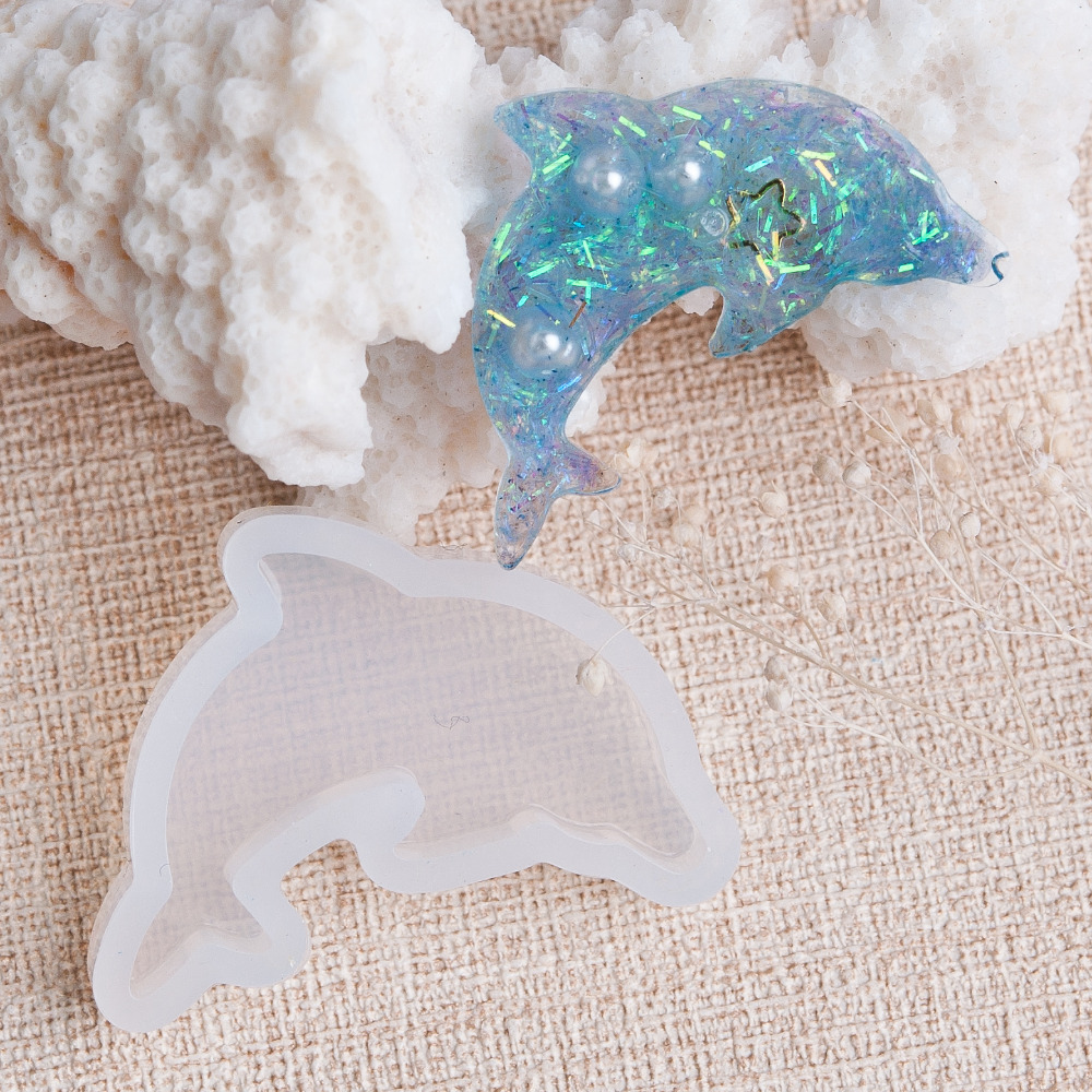 Doreen Box Dolphin Animal Shape Silicone Resin Mold For Jewelry Making White DIY Jewelry 38mm(1 4/8