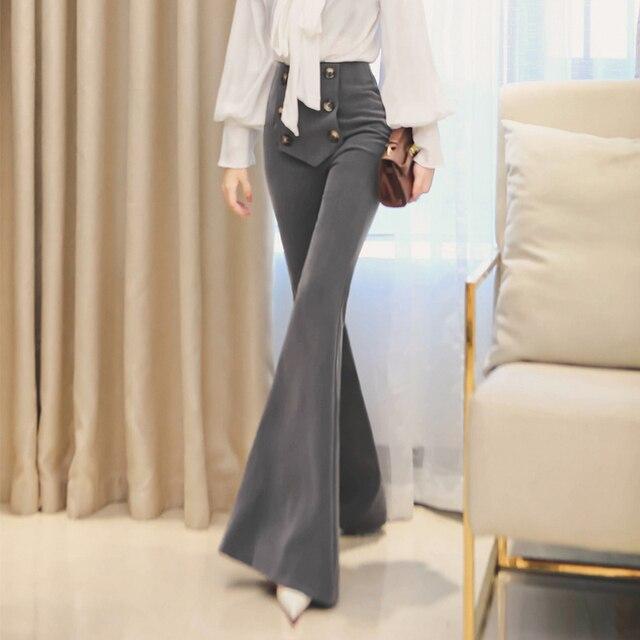 Высокое качество Женская высокая талия тонкая брюки клеш брюки женские OL рабочая одежда повседневные штаны черные длинные брюки расклешенные брюки