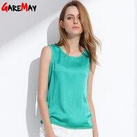 Womens Summer Silk Tank Tops Ladies Blouses Mesh Cute Sleeveless Solid Color O Neck Casual Debardeur