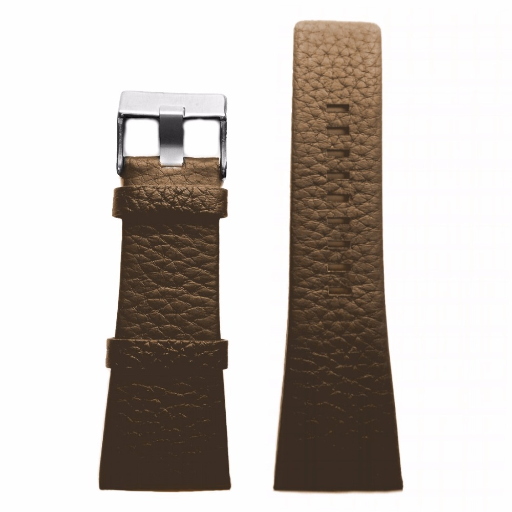 30mm Geunine Leather Watch Band Brown Color Stainless Steel Buckle WB1029B30GB