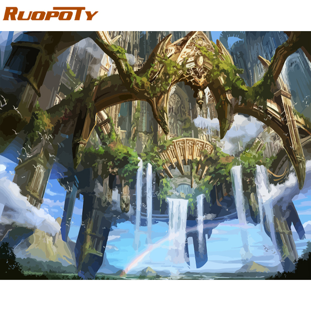 RUOPOTY Frame waterfall DIY Painting By Numbers Kit Landscape Acrylic Paint By Numbers On Canvas Handpainted Oil Painting Gift