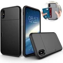 Для iphone XS Max прочный Чехол слайдер; держатель для карт сзади чехол для iphone 5 5S SE 6 6 S 7 8 Plus X XS XR Роскошный чехол-портмоне