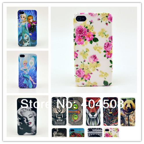19 styles brand new hard back cover shell skin for iphone 4 4s animal Frozen Marilyn Monroe cell phone mobile case free shipping