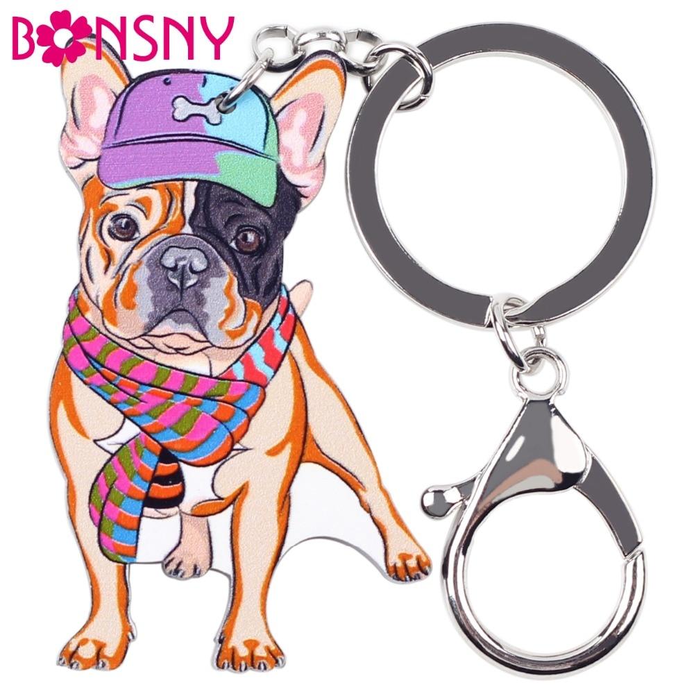 Bonsny Acrylic Dog Jewelry French Bulldog Key Chain Key Ring Pom Gift F