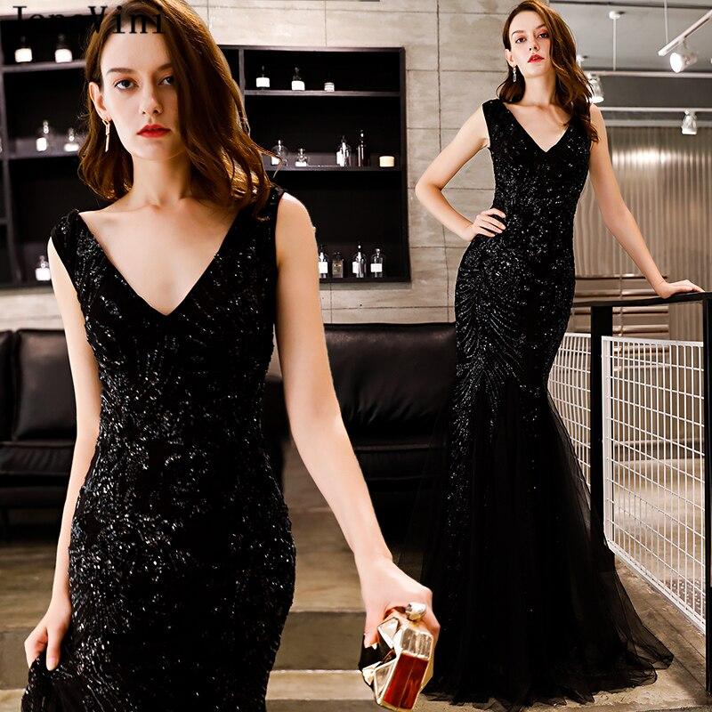JaneVini Sexy noir paillettes longues robes de demoiselle d'honneur pour les mariages profonde col en V sans manches longueur de plancher sirène formelle robes de bal