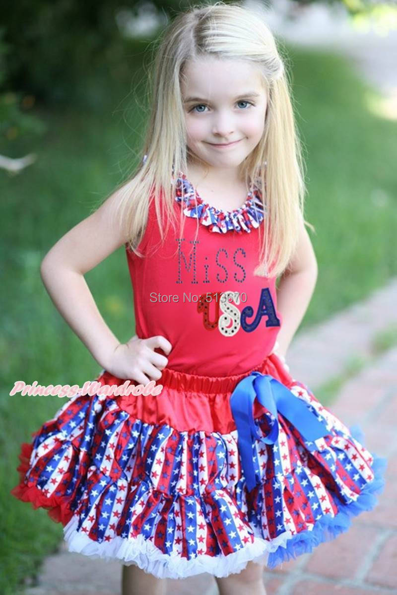 4th July Rhinestone Miss USA Red Top Patriotic Stripe Star Skirt Girl Cloth 1-8Y MAPSA0592 4th july rhinestone usa flag heart star top dance ruffle tutu dress pants 1 8y mapsa0687