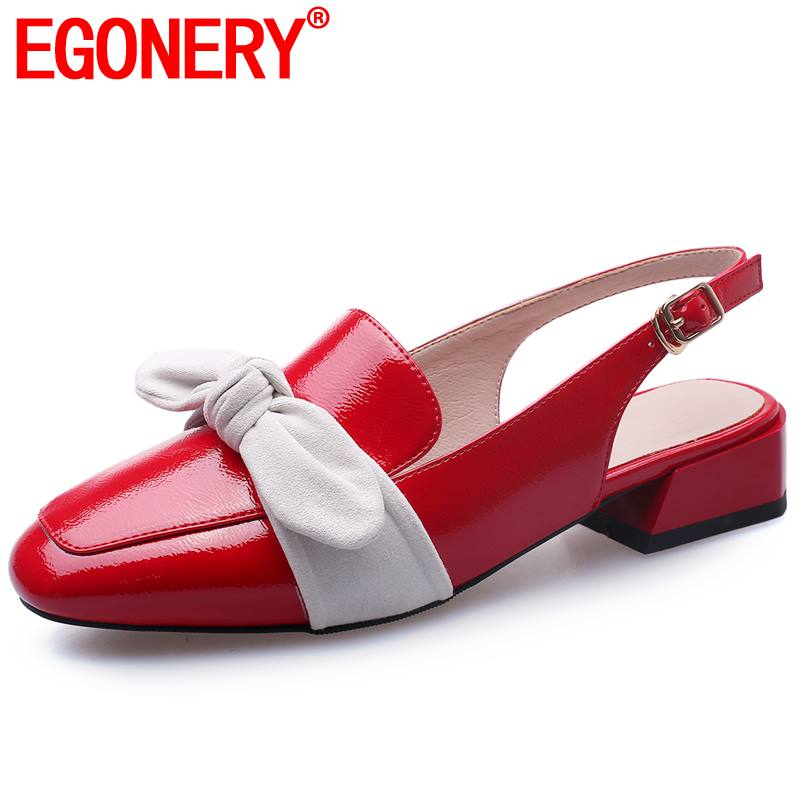 EGONERY office slingbacks pumps woman summer patent leather butterfly-knot low heels women square toe pu shoes red black white