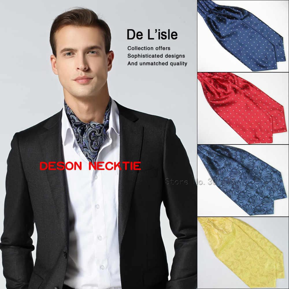Men/'s Paisley Floral Design Ascot Tie Jacquard Woven Silk Cravat