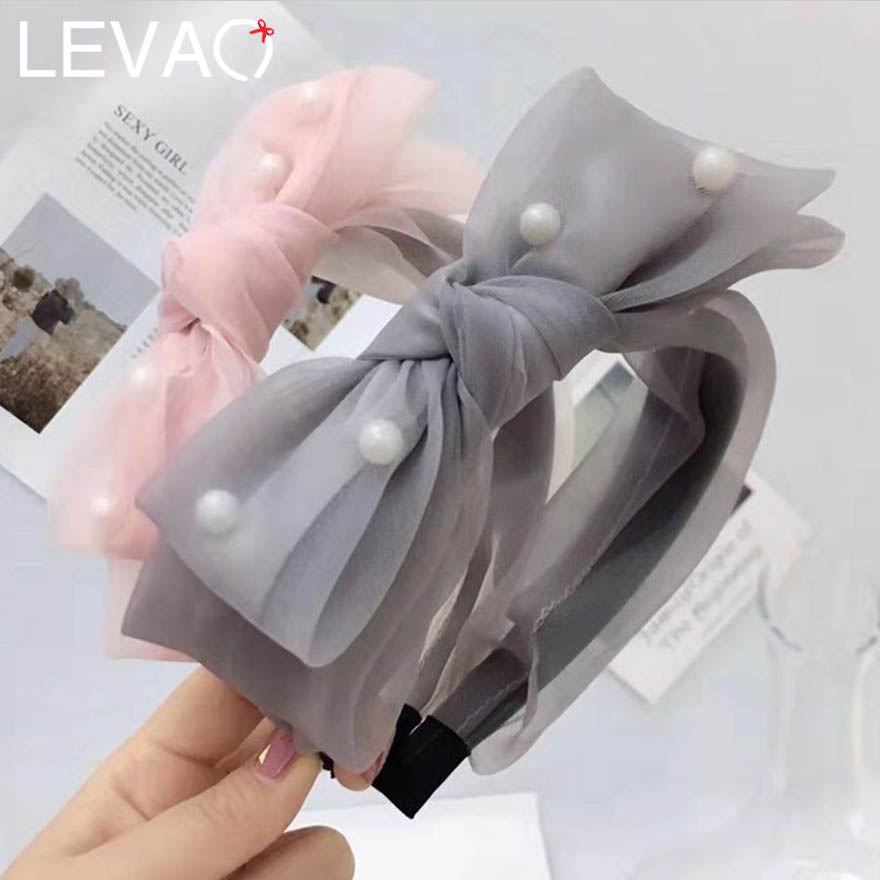 LEVAO Gorgeous Silk Big Bow With Pearl Hairband For Girls/Women Simple Solid Mesh Lace Multi-layer Wide-edged Headband For Party