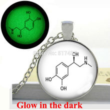 Glow in the Dark Pendant Epinephrine Hormone and Neurotransmitter Necklace Science Chemistry Jewelry glass  Glowing jewelry