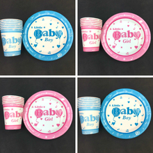 Little Baby Boy Girl 20pcs paper cups+20pcs plates kids girls favors Happy birthday party Tableware set decoration