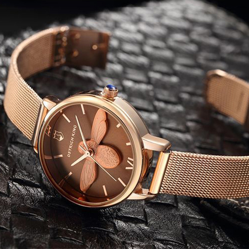 2018 Rose Gold Casual Women Watches Bee Relief Fashion Watch Dress Creative Quartz Watch Ladies Wristwatches Women Gift 20 contena new fashion women quartz watches casual dress girls wristwatches rhinestones waterproof rose gold silver ladies watch