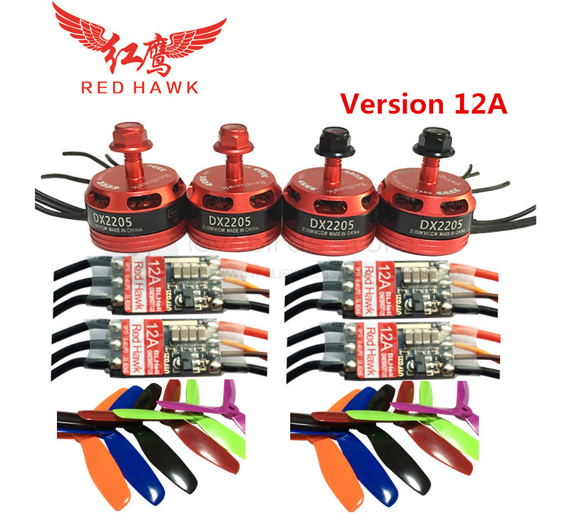 REH HAWK DIY FPV mini drone power kit DX2205 2300KV motor + BL12A/20A ESC OPTO 2-4S oneshot125 + T4/5045BN V2 for QAV250 quad купить