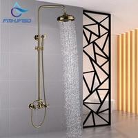 ゴールデン降雨シャワー蛇口セット真鍮壁掛けシャワー付きハンドシャワーミキサー用浴