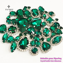 Malachite green Mix size Crystal buckle+claw rhinestone,Silver base galss sew on stones diy/Clothing accessories 50pcs/pack