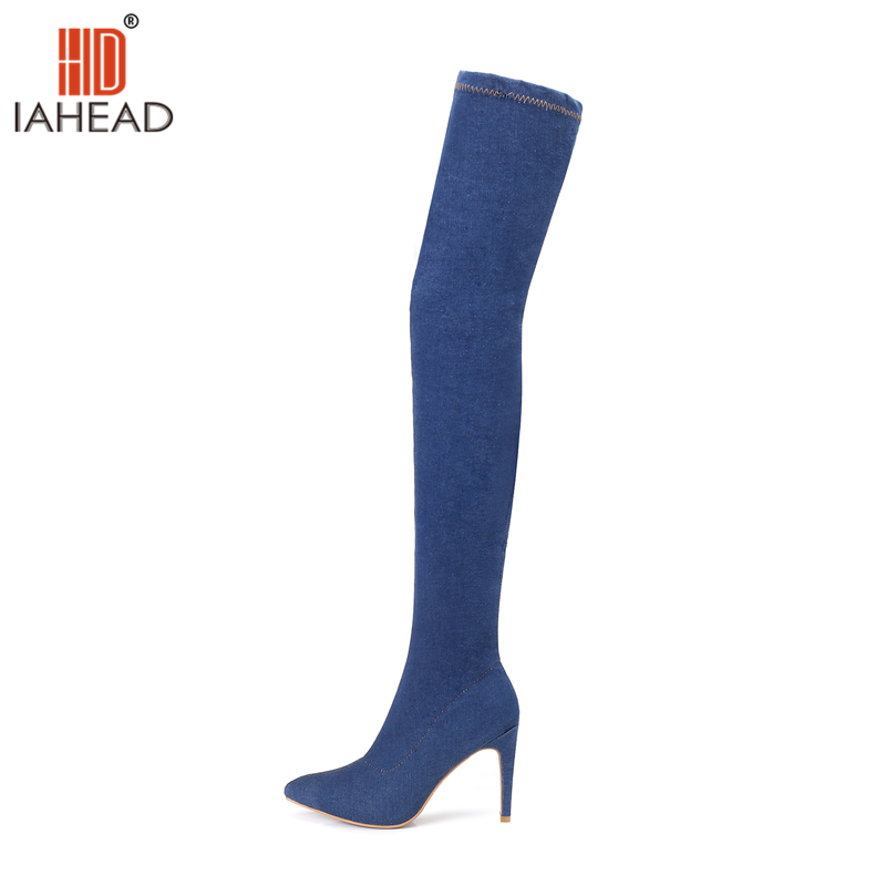 IAHEAD Shoes Women Autumn Winter Boots Over Knee high Boots fashion Shoes Casual Boots Canvas shoes Thin Heels Shoes UPC476 free shipping fashion gril s canvas shoes boots women knee high canvas shoes superstar slip on flat shoes casual shoes girls