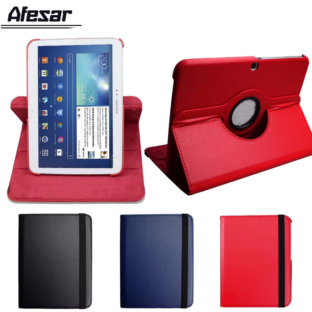 Tab 3 <font><b>10.1</b></font> gt p5200 p5210 case <font><b>360</b></font> degree rotating flip cover for Samsung GALAXY TAB 3 <font><b>10.1</b></font> tablet stand pu leather cover case image