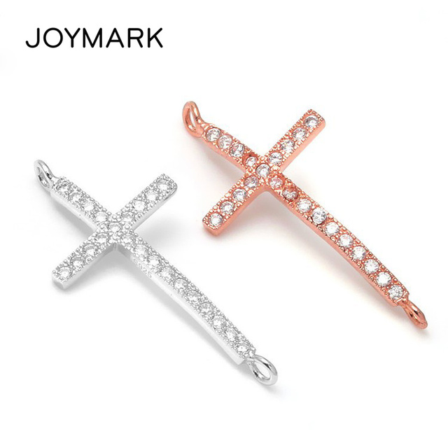 High Quality White Rhodium Rose Gold Plated 925 Sterling Silver Zircon Micro Pave Cross Jewelry Connector Findings SLJQ-CZ012