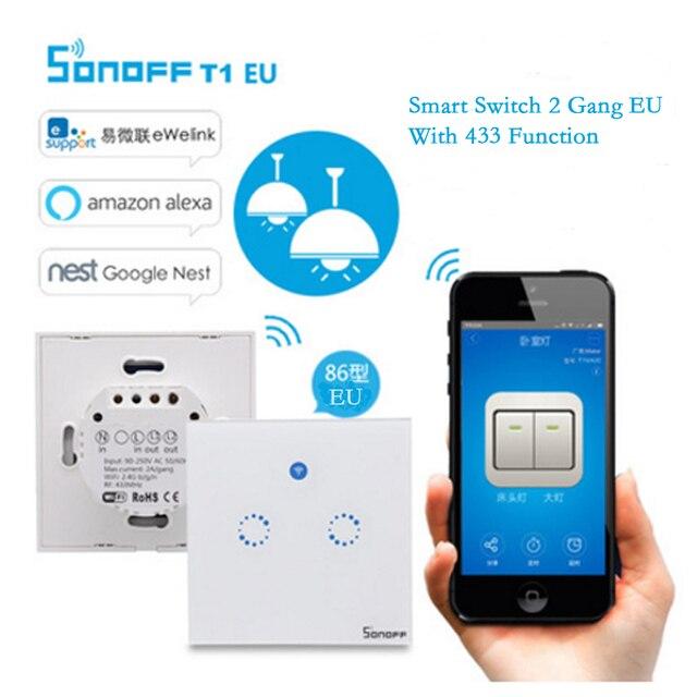 Itead Sonoff Thông Minh Nhà Điều Khiển Từ Xa Wifi Chuyển Với 433 Chức Năng T1 EU 2 gang, Cảm Ứng LED Light Tường Hẹn Giờ Chuyển Đổi Thông Minh Qua APP
