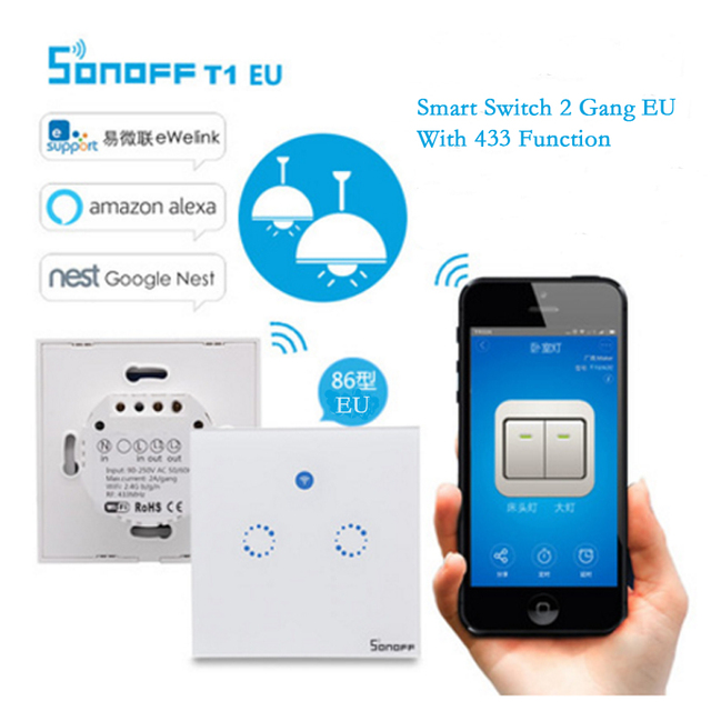 Itead sonoff Smart Home control remoto WiFi switch con 433 funciones T1 UE 2 Gang, luz led táctil temporizador de pared interruptor inteligente a través de APP
