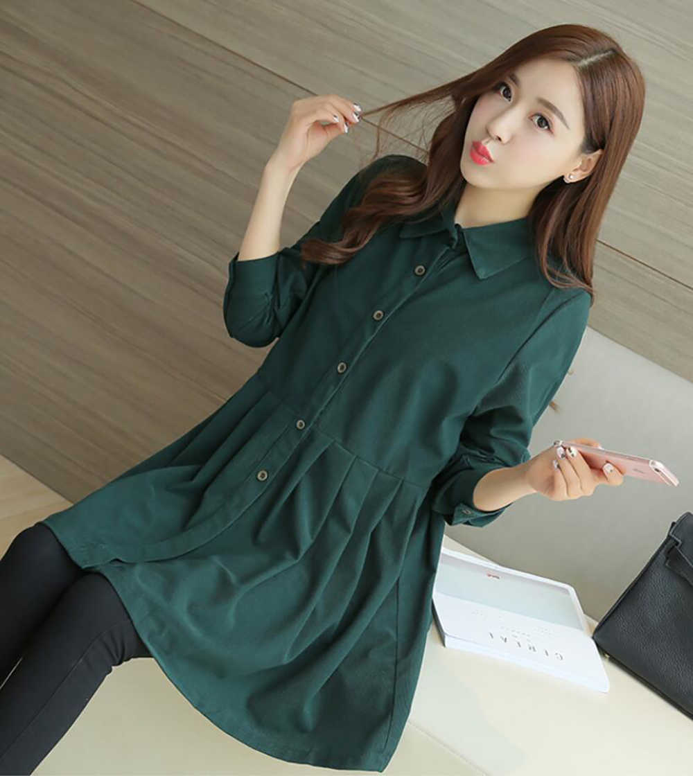 1b0227abe9d56 ... Plus velvet Pleated Waist Button Corduroy Maternity T Shirt Blouses  Korean Pregnancy Tunic Tops Clothes For ...