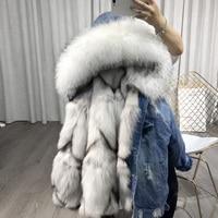 Women's fashion black and blue denim real fox fur parka jacket coat with hood genuine raccoon fur collar bomber jacket