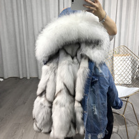 Women's fashion black and blue denim real fox fur parka jacket coat with hood genuine raccoon fur collar bomber jacket