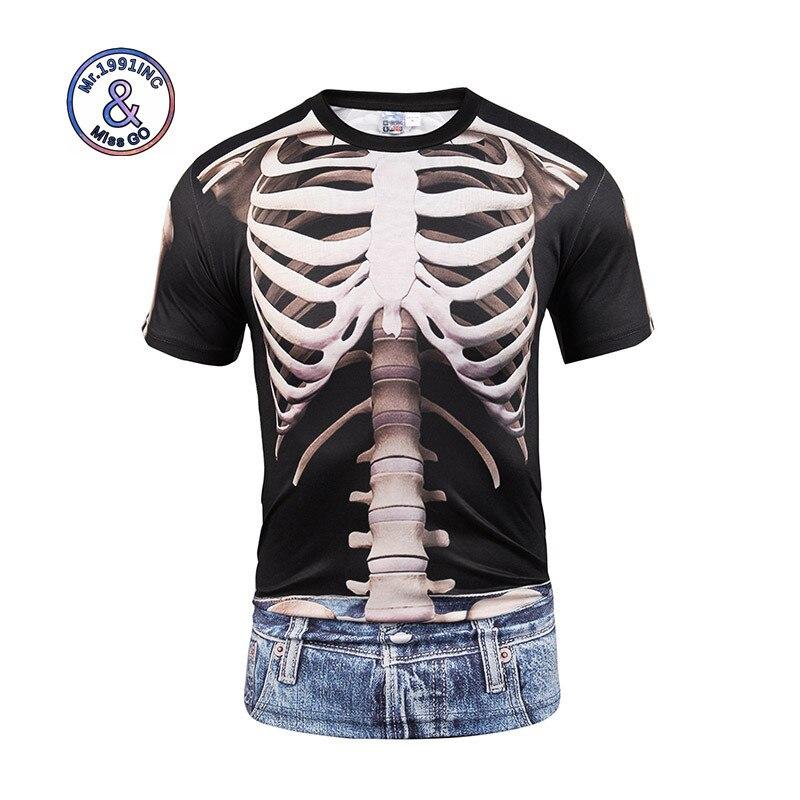Mr.1991INC Newest 3D Print Skulls T-shirt Fashion Fake Two Pieces Jeans T-shirt Hip Hop Steetwear Men/Women Summer Tops Tees