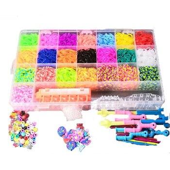 4600/6800 Uds. Bandas de goma telar juego niñas DIY juguete bandas elásticas para adultos con Clips para pulsera encantos de figuras arte artesanal