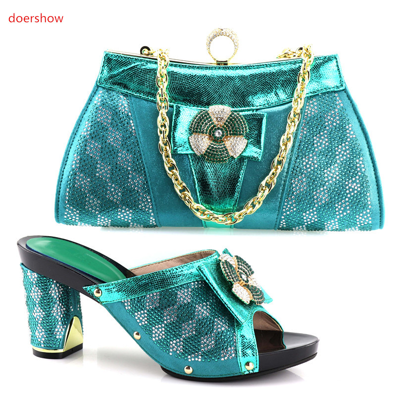 doershow African Shoes And Bags To Match High Quality Womwn Shoes and Bag Sets Italian Shoes And Bag Set For Party!HV1-63 doershow high quality italian shoe and bag to match women shoes african party shoes and bag set green with rhinestone kh1 3