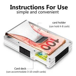 Image 2 - Porta cartão de crédito em alumínio, verão, fino, carteira masculina, proteção antirroubo rfid