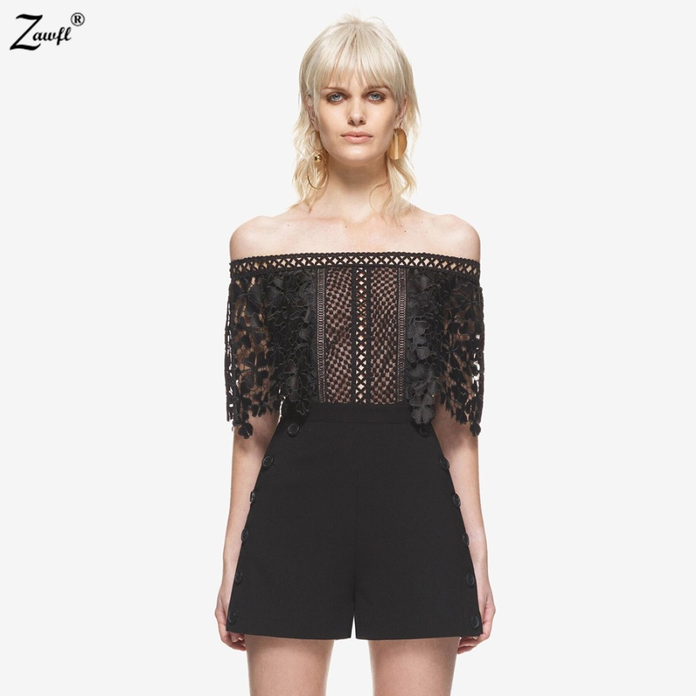 ZAWFL High Quality Womens Black Self Portrait Playsuit Summer Sexy Off Shoulder Lace Jumpsuit 2020