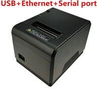 Groothandel 80mm thermische printer automatische snijmachine afdrukken snelheid Snelle geluidsarm printer USB + Ethernet + Seriële poort